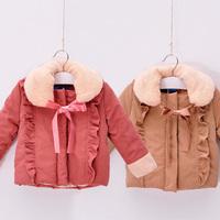 2014 winter fur collar girls clothing baby child cotton-padded jacket wadded jacket cotton-padded jacket outerwear wt-1427  sxl