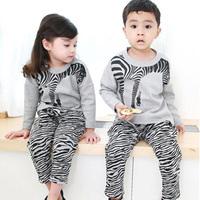 2014 spring boys clothing girls clothing baby child casual sports set tz-1025  sxl