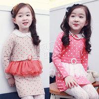 2014 spring lace collar girls clothing baby child long-sleeve dress qz-0916  sxl