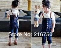 Retail 1 set   kids girls brands   denim overalls fashion girl cowboy pants  spring autumn kids trousers