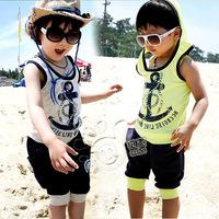 2014 summer boys clothing girls clothing baby child vest capris set tz-0106  sxl
