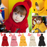 Wholesale! children's winter hat  baby hat ball cap Children siamese shawl 5 colors Free Shipping