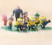 Despicable Me 2 figures1Set 1Set=8pcs 2.8''~5'' Villain Papa and daughters Cuddly Stuff 3D eye Despicable Me  Minion