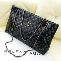 Women's autumn and winter vintage fashion small sachet plaid genuine leather chain bag shoulder bag handbag black female