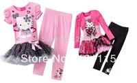 New 2014 autumn summer girl clothing set, children t shirts+girl legging,hello kitty girl dress+kids pants,baby girl clothes set