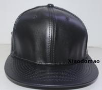 Free Shipping High Quality Wholesale Fashion Blank Snapback Baseball Cap Flat brim hip hop PU Leather hat  Adjustable