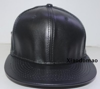 Free Shipping High Quality Wholesale Fashion Blank Snapback Baseball Cap Flat brim hip hop PU Leather hat  Adjustable