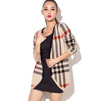 2013 autumn Brand sweater women cardigan sweater classic stripe wide medium-long plus size sweater outerwear