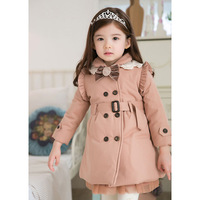 Hot sale winter child double breasted three-color thickening wadded jacket  child girl overcoat free shipping