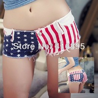 Sexy Girls Denim Shorts Hot Pants Jean Short Shorts Denim Daisy Dukes Sexy Girls Low Waist American Flag 12220113