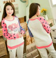 Fleece letter sweatshirts big dot stripe sleeve nice design women pullovers hoodies sweatshirts for girls