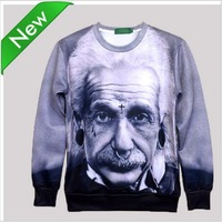 [Mikeal] 2015 New Fashion Men/Women's brand 3D Character Hoodies Funny printed Einstein sweatshirts hoody sport top SWT81