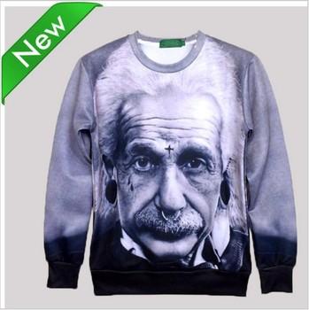 2014 Men Женщины's brand 3D Character Hoodies Funny printed Einstein sweatрубашка ...