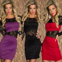 S M L XL New !!!! Autumn Winter Dress Long Sleeve Hollow Out Sexy Lace irregular Dress Autumn -Summer Dress