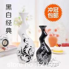 Moderne élégant, Simple, Artisanat ornements, Décoration de la maison, D'ameublement, Creative, Abstraite, Noir et blanc, Vase en céramique(China (Mainland))
