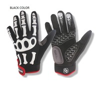 1 pair bicycle gel glove,mountain bike Skeletons Gloves,MTB antiskid gel gloves,Full Finger Cycling Bicycle Skiing gloves,3color