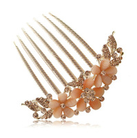 9cm Free Shipping High Quality Luxurious Wedding Hair Accessaries 18K Gold Plated Crystal Bride Hairpins Hair Comb SF293