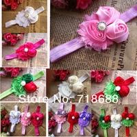 "2.5""Shabby Flower Headbands With Starburst Button Center Mini Satin Ribbon Rose Flower Headband Toddler Baby Headbands 24pcs/lot"