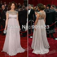 Jennifer Lopez Bateau Neck Beaded Diamond Crystal Rhinestones Empire High Waist Chiffon Woman Elegant Celebrity Dresses