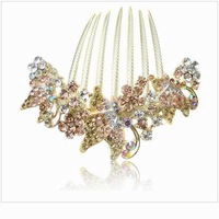 9.5cm*8.5cm Extreme Luxurious Vintage Hair Accessories Crystal Gold Plated Butterfly Hair Comb Hairclip Free Shipping SF298