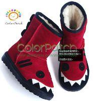 DXB-0001,Lovely Crocodile Cartoon Children's Snow Boots,Fashion,Leather Upper,Fur Lining,Anti-Slipper,Warm,PU Sole,