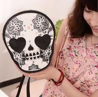 2014 Bags women's handbag personalized skull bag PU chain bag girl mini messenger bag