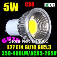 Drop shipping 85-265V dimmable E27 GU10 MR16 COB 5W LED light bulb led Spotlight White/Warm white led lighting
