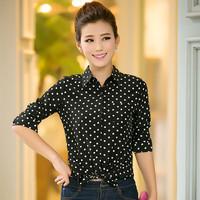 Spring Female Long Sleeve Turn Down Collar Chiffon Shirt Slim Polka Dot Shirt for Women Ropa Mujer Body Blouses Office Work Tops