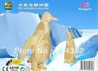 Free Shipping 2pcs/lot 3D Puzzle Animals Wooden Toys Penguin DIY Miniature Building Model Kits Home Children Toys 11*6*15cm