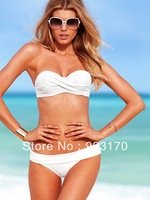 Free Shipping Fashion Cheap High Quality Women Top Strapless Sexy Strap Solid Bikini Swimsuit Top and Bottoms Swimwear Y007