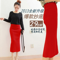 Autumn and winter knitted bust skirt after placketing slim hip skirt full dress female high waist dress knitted step
