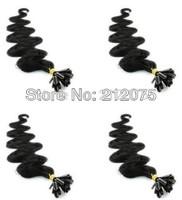 "12""-26""inches 4sets/lot Keratin Nail Tip U-Tip Brazilian virgin body wave human hair extension*DHL Free shipping"