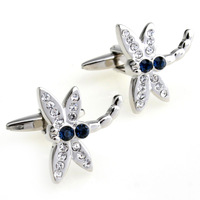 Wholesale 5 pcs/Lot Men the shop crystal male women's white pink crystal dragonfly cufflinks nail sleeve 156284