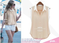 2013 summer new women's sleeveless chiffon shirt solid color female fight cultivating wild shirt-YG104
