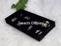 2014 New Black Velvet 8 Compartment Tray Jewelry Display Box Holder Case Hot Holder