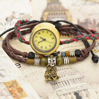 2014&New Arrivals Genuine Leather Watch Vintage Weaving Watch With Wooden Bead,Ancient Bronze Lovers Pendant Bracelet Watch