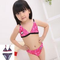 E0388 Hot summer Baby Bikini set Beach swim wear Girls Cute Two Pieces Swimsuit Kids Flouncing Swimwear bathing suit