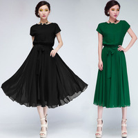New 2014 Fashion batwing sleeve casual dress elegant noble party dresses  size S-XL dress women Hot selling