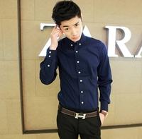 Free shipping Men's clothing 2013 summer casual shirt male 100% cotton slim shirt spring male long-sleeve shirt