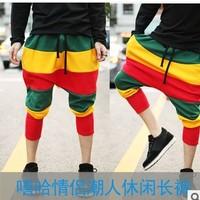 Large crotch! Reggae Color. Stripes. Hip-hop. Cross-pants. Leisure. Neutral. Harem pants. Pant. Men and women are suitable.