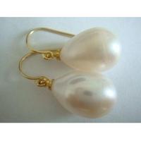 charming AAA+11x13mm natural south sea white pearl earrings 14K