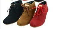 2014 new slope with high-heeled boots laced high-top shoes 6 colors solid casual shoes 158