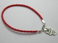 80Pcs Red Leatheroid Braided String Kabbalah Hand Charms Good Luck Bracelets SHL3024