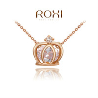 ROXI New Gift Classic PENDANT Fashion Rose Gold Link Chain Calabash Sales Lucky NECKLACE Crown Pendant Jewelry