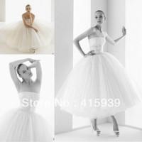 Perfect Design Elegant White Ivory Strapless Tea Length Tulle Wedding Dress Bridal Gown Women Free Shipping HS212