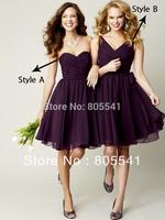 2015 New Fashion Adult Custom Made A-Line Sweetheart Sleeveless Cheap Chiffon Knee Length Short Bridesmaid Dress
