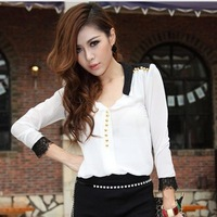Spring 2013 new women's long-sleeved shirt collar lace chiffon blouse-YG103