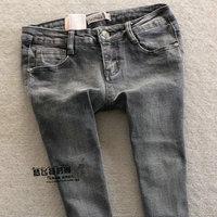 2013 sexy scrub quality black and gray elastic slim skinny jeans pants trousers