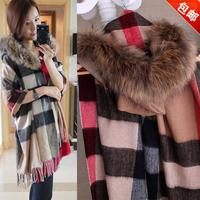 Fashion b classic check cashmere cloak cape elegant with a hood fox fur scarf