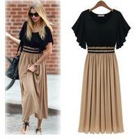 Party dress Europe plus size 4XL beige color new style summer dress chiffion dress women vestido de festa longo long pollover